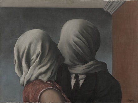 "René Magritte, ""Les amants (The Lovers)."" 1928. Oil on canvas, 21 3/8 x 28 7/8 ̋. Museum of Modern Art. Gift of Richard S. Zeisler. © Charly Herscovici, ADAGP, ARS, 2013."