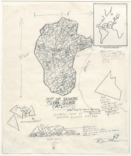 "Robert Smithson, ""Map of Broken Clear Glass (Atlantis)."" 1969. Collage, Photostat, map, and graphite on paper, 42.5 x 35.6 cm. Dia Art Foundation, gift of Nancy Holt. © Estate of Robert Smithson/licensed by VAGA, New York 2013 / Image courtesy of James Cohan Gallery, New York & Shanghai."