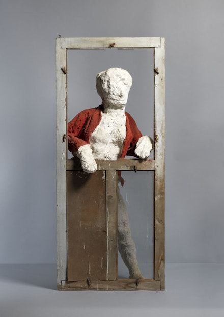 "George Segal, ""Woman in Red Jacket,"" 1958. Plaster, burlap, wood, wire, and paint, 177.8 x 76.2 x 48.3 cm. Gift of the George and Helen Segal Foundation (2007-38 a-b). ©1958, George Segal. Photo: Bruce M. White."
