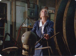 Louise Bourgeois in a scene from <em>Louise Bourgeois: The Spider</em>, <em>The Mistress</em> and <em>The Tangerine</em>, a film by Marion Cajori and Amei Wallach.