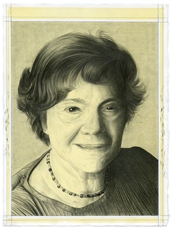 Portrait of Amei Wallach. Pencil on paper by Phong Bui.