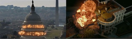 From left to right: film stills from <i>White House Down</i> (2013) and <i>Olympus Has Fallen</i> (2013).
