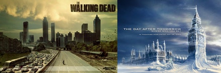 Posters for the television series <i>The Walking Dead</i> and the 2004 film <i>The Day After Tomorrow.</i>