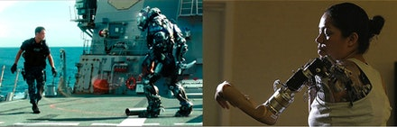 From left to right: film still from <i>Battleship</i> (2012); picture of former Marine with prosthetic arm.