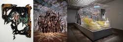 From left to right: Valerie Hegarty, <i>George Washington Shipwrecked</i> (2007); Cornelia Parker, <i>Cold Dark Matter: An Exploded View</i> (1991); David Altmejd, <i>The Orbit</i> (2012).
