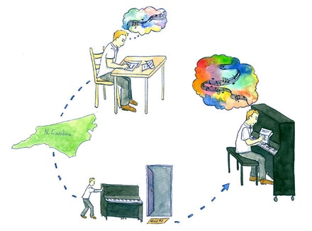 Charles Waters and his piano. Illustration by Megan Piontkowski.