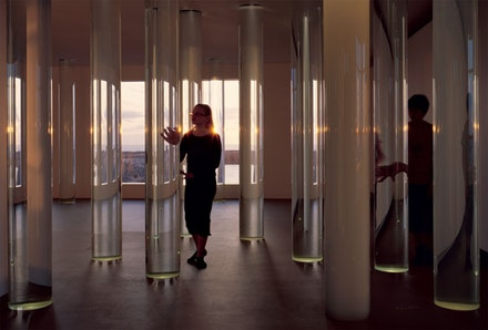 <em>Water, Selected</em>, 2007. 24 Glass columns filled with water from unique glacial sources. Each column: 12 ̋diameter × 110 ̋. Permanent Installation at Vatnasafn/ Library of Water, Stykkisholmur, Iceland. Photo: Stefan Altenburger Photography, Zurich.
