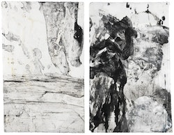 """Ch'an Bones Scroll I,"" 2011. Ink on paper, diptych. 171/4×22 inches. Courtesy of Yoshii Gallery, New York and Cheim & Read, New York."