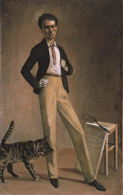 """Balthus, """"The King of Cats,"""" 1935. Oil on canvas, 30 11/16 x 16 5/16"""". Fondation Balthus, Switzerland © Balthus."""