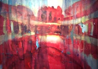 "Judy Simonian, ""Red Coliseum,"" mixed media collage."