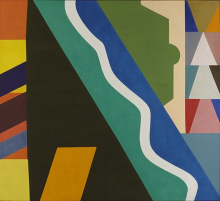 "Shirley Jaffe, ""The White Line"", 1975, oil on canvas, 77.25 x 85'', Courtesy Tibor de Nagy, New York."
