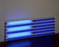 Dan Flavin, <em>Untitled (for Ad Reinhardt) 2d</em>, 1990. Blue and ultraviolet fluorescent light. 4 ft. (122 cm) wide. CL no. 569. © 2013 Stephen Flavin/Artists Rights Society (ARS), New York; courtesy David Zwirner, New York/London.