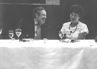 Octavio Paz with Dore Ashton at the New School of Social Research's Banquet for Paz c. 1986. Courtesy of Dore Ashton.