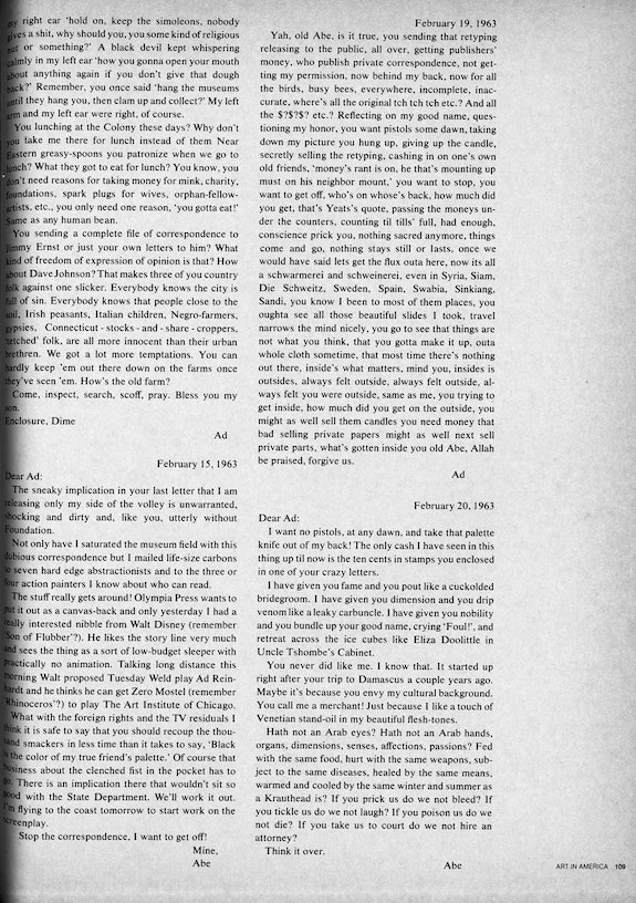"<br /> ""The Prize: An Exchange of Letters between Ajay and Reinhardt,"" Art in America 6, (November-December 1971), pp 106 – 9. Courtesy BMP Media Holdings, LLC."