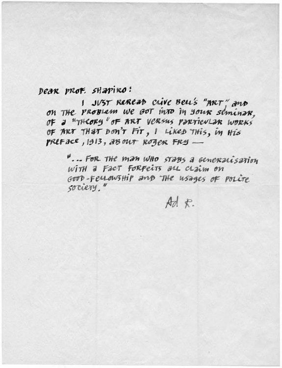 Letter to Meyer Schapiro.