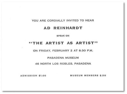 1962. Courtesy the Ad Reinhardt Foundation.