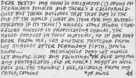 Ad Reinhardt to Betty Parsons, January 25, 1962. Betty Parsons papers. Courtesy Archives of American Art.