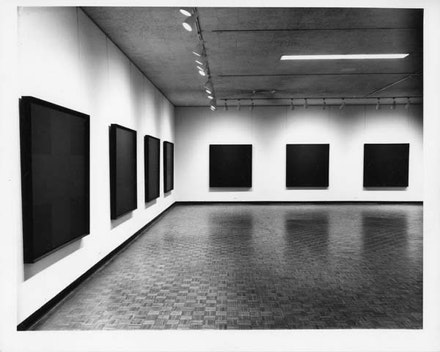 Installation view of <em>Ad Reinhardt Paintings</em> at the Jewish Museum, 1966. Photo by Gretchen Lambert.