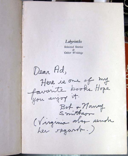 <br /> Inscribed copy of <em>Labyrinths: Selected Stories and Other Writings</em> by Jorge Luis Borges from Robert Smithson to Ad Reinhardt. Courtesy the Ad Reinhardt Foundation.