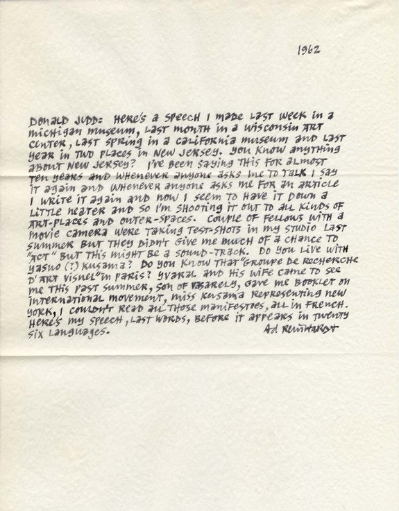 Ad Reinhardt to Donald Judd, 1962. Courtesy the Judd Foundation.