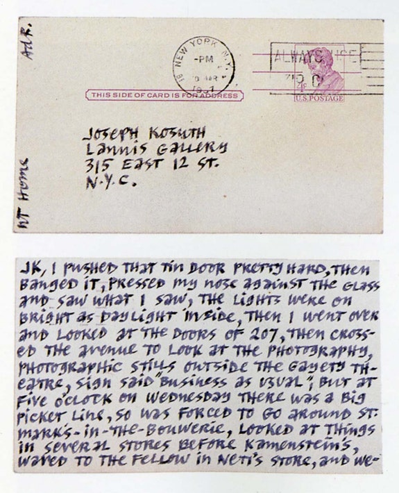 Ad Reinhardt to Joseph Kosuth, March 10, 1967.