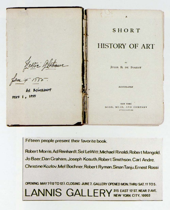Ad Reinhardt's copy of Julia R. De Forest's <em>Short History of Art</em> (New York: Dodd, Mead, and Company). His submission to Kosuth's exhibition, <em>Fifteen People Submit Their Favorite Book</em>, Lannis Gallery. Courtesy Joseph Kosuth.