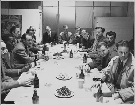 Artists's sessions at Studio 35, April 1949. Modern Artists in America edited by Robert Motherwell and Ad Reinhardt. Courtesy the Ad Reinhardt Foundation. Left to right: Seymour Lipton, Norman Lewis, Jimmy Ernst, Peter Grippe, Adolf Gottlieb, Hans Hofmann, Alfred Barr, Robert Motherwell, Richard Lippold, Willem de Kooning, Ibram Lassaw, James Brooks, Ad Reinhardt, Richard Poussette-Dart.