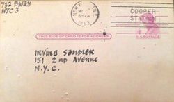 Ad Reinhardt, postcard to Irving Sandler, March 5, 1963.