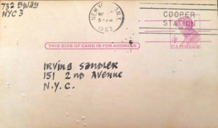 Ad Reinhardt, postcard to Irving Sandler, March 5, 1963.