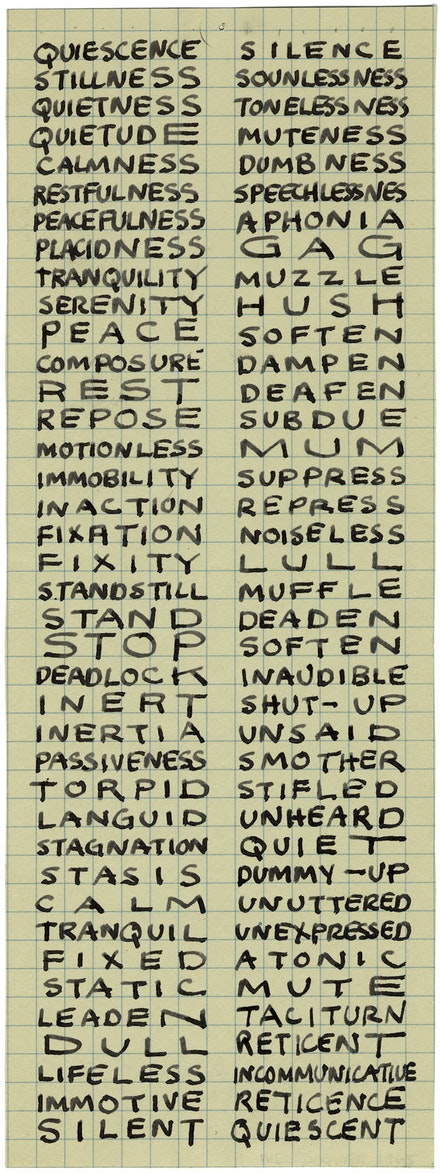 "<br /> Mel Bochner, ""Portrait of Ad Reinhardt,"" 1966. Ink on graph paper, 10.25 × 3.75′′. Image courtesy the artist."