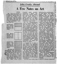 "<br> John Crosby, ""A Few Notes on Art,"" New York Herald Tribune Incorporated, 1963."