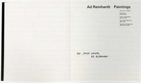 Ad Reinhardt Paintings, The Jewish Museum. New York, catalogue signed by the artist.