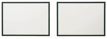 Jo Baer, Horizontals Flanking, Large, Green Line, 1966. Oil and acrylic on canvas, two panels, 60 × 84″ each. Solomon R. Guggenheim Museum, New York. © Jo Baer.