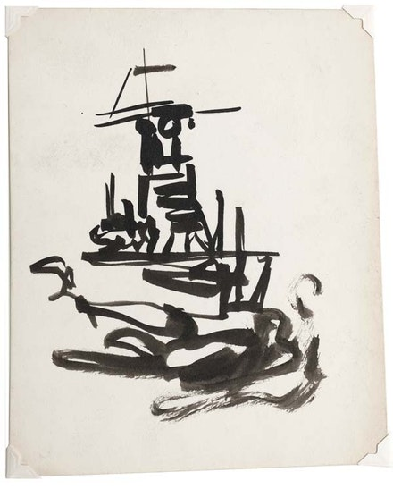 Ad Reinhardt, Untitled (Navy sketches), ink on paper, 1945. Courtesy the Ad Reinhardt Foundation.