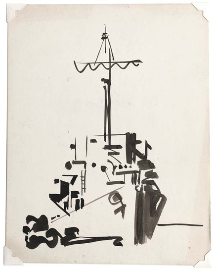 Ad Reinhardt, Untitled (Navy sketches), ink on paper, 1945. Courtesy the Ad Reinhardt Foundation.