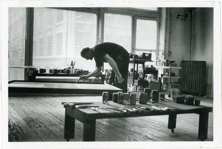 Ad Reinhardt painting in his studio, New York, 1962. Copyright Marvin Lazarus.