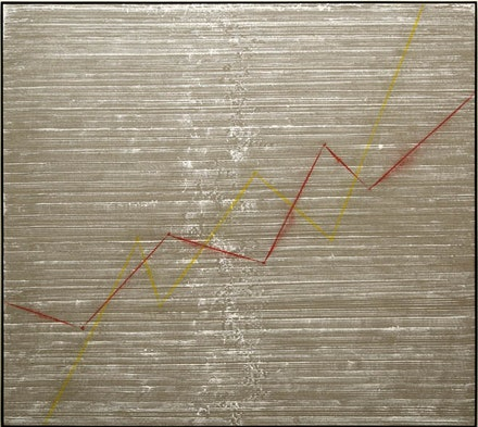 """G.T. Pellizzi, """"Financial Times (Graph, Figure 2)."""" 2013. Acrylic, pigment, linen, 48 × 54˝.  Courtesy Mary Boone Gallery, New York."""