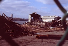 A rare photograph by Frank Hallam of Gordon Matta-Clarke's work being demolished. Copyright: Frank Hallam.