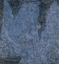 """Paul Klee, """"Walpurgis Night,"""" 1935. Gouache on cloth laid on wood, 508 × 470 mm. Tate, London."""
