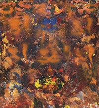 "Susanna Coffey, ""Oh Day, Verge and Bow,"" 2013. Acrylic on panel, 13 × 12 ̋."