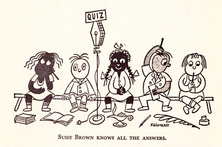 "figure 4. Ad Reinhardt, ""Susie Brown knows all the answers,"" The Races of Mankind. Courtesy Ad Reinhardt Foundation."