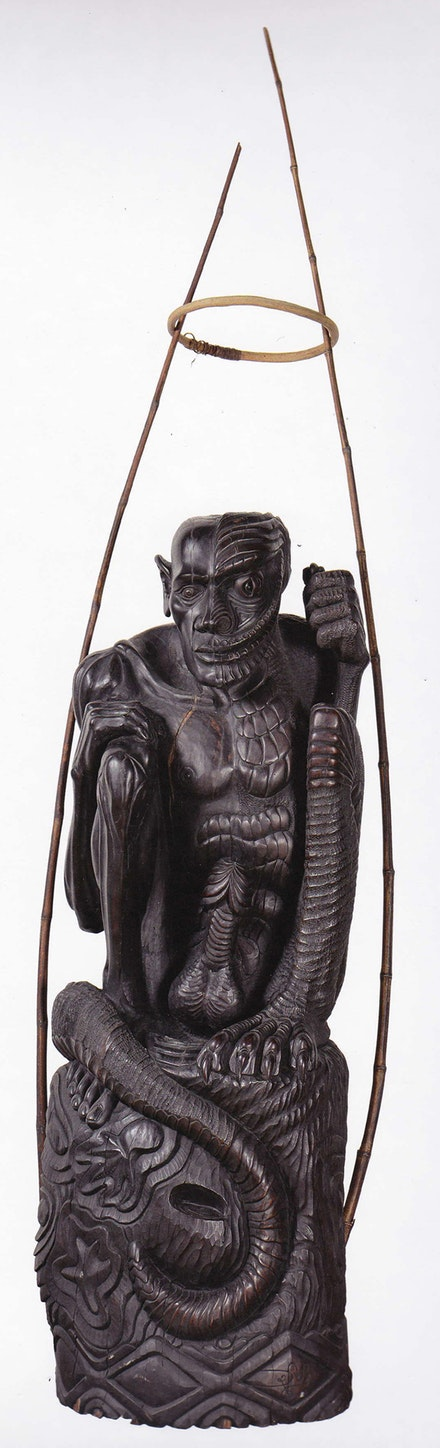 Dick Bone, L'Homme lézard, 1992, wood, bamboo, vines, pigments, 150x80 cm., Agence de développement de la culture kanak - Centre Tjibaou, Nouméa, New Caledonia. Photo: Eric Dell'Erba.