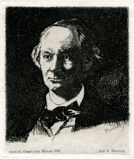 <em>Portrait of Baudelaire by Manet</em>. Etching, 1865. Collection of Phong Bui.