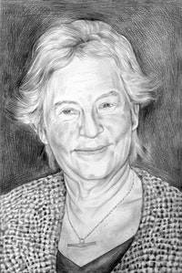 Portrait of Barbara Novak. Pencil on paper, by Phong Bui.