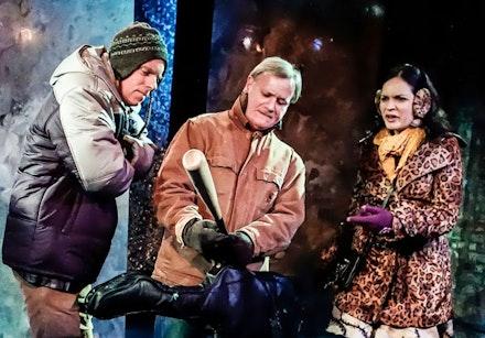 <em>The Norwegians</em>. L-R:  Hamilton Clancy, Dan Teachout, Veronica Cruz.  Photo by Lee Wexler/Images for Innovation.