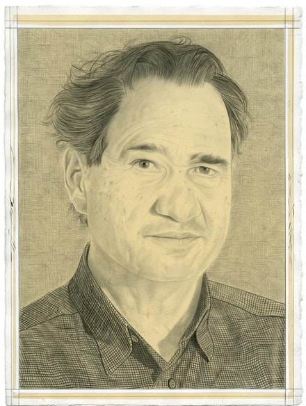 Portrait of Carlos Brillembourg. Pencil on paper by Phong Bui.