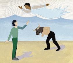 Joseph Keckler, Bessie Smith, and a Minotaur. Illustration by Megan Piontkowski.