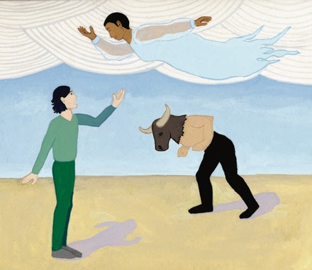 Joseph Keckler, Bessie Smith, and a Minotaur. Illustration by Megan Piontkowski.