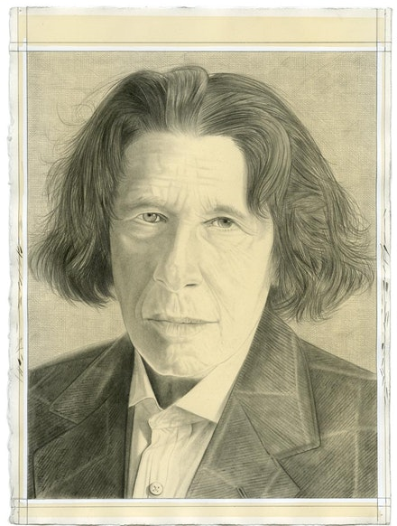 Portrait of Fran Lebowitz. Pencil on paper by Phong Bui.