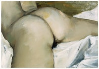 "Gillian Carnegie, ""Nude on White Linen"" (2002). Oil on board. 9"" x 13"". Photo: Oren Slor. ©Gillian Carnegie. Image courtesy of Andrea Rosen Gallery, NY."
